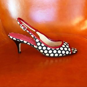 Kate Spade slingback heels, polka dot, red trim